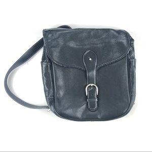 Levenger One Shoulder Backpack Black Leather